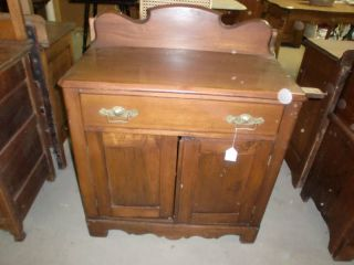 Antique Walnut Washstand With Pull Out Towel Holder photo