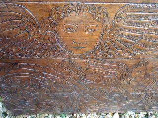 Rare 17th Century Walnut,  Dated Coffer Front