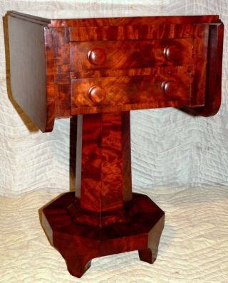 1840 Empire Two Drawer Stand,  Flame,  Unusual Form,  Best Flame Mahogany, photo