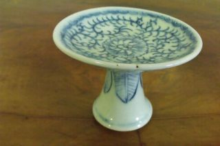 Antique Chinese Blue & White Pedestal Bowl.  Mid - Late 1800 ' S,  3.  25