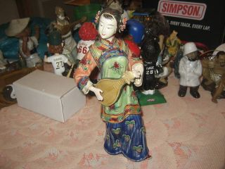 Chinese Pottery Art Figurine Lady W/ Instrument Signed photo