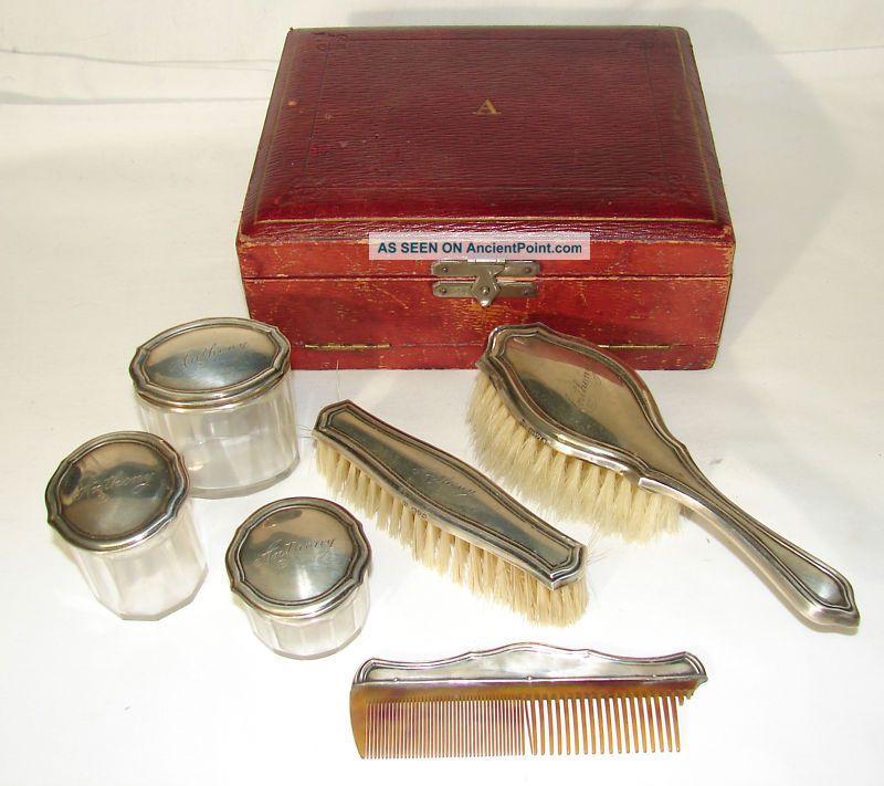 Antique 1912 Men ' S Sterling Vanity Set Hair & Cloths Brush & Dresser Jars + Case Brushes & Grooming Sets photo