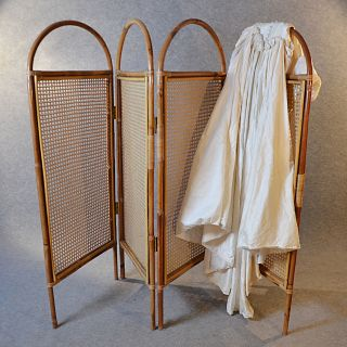 Antique Folding Screen Room Divider Partition Bergere English Edwardian C1910 photo