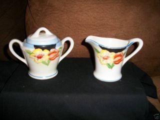 Antique Ceramic Tea Set Sugar Bowl & Creamer Floral Vf photo