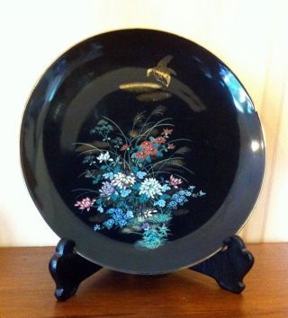 Vintage 60s Fine China Art Porcelain Japanese Plate Bird And Floral Design photo