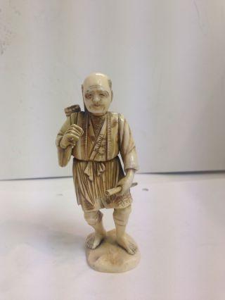 Charming Faux Ivory Okimono Figure Meiji Period photo