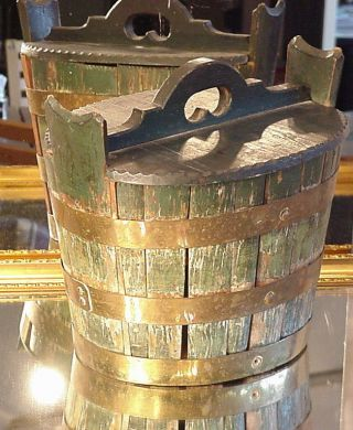 Primitive Antique Folk Art Victorian Rare Banded Bucket Old Painted Green Box photo
