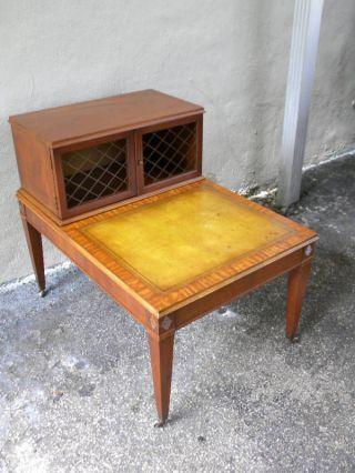 Henredon Mahogany Leather Top Nightstand Side / Night / Side Table photo