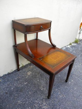 Mahogany Leather Top Lamp / Side / Night Table With A Drawer photo