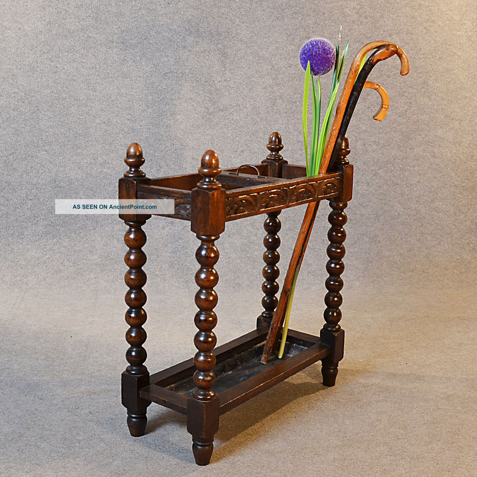 Antique Stick Umbrella Hall Stand Quality Oak English Victorian Bobbin Leg C1900 Stands photo