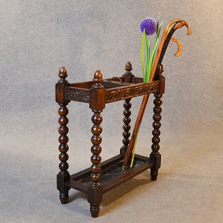 Antique Stick Umbrella Hall Stand Quality Oak English Victorian Bobbin Leg C1900 photo