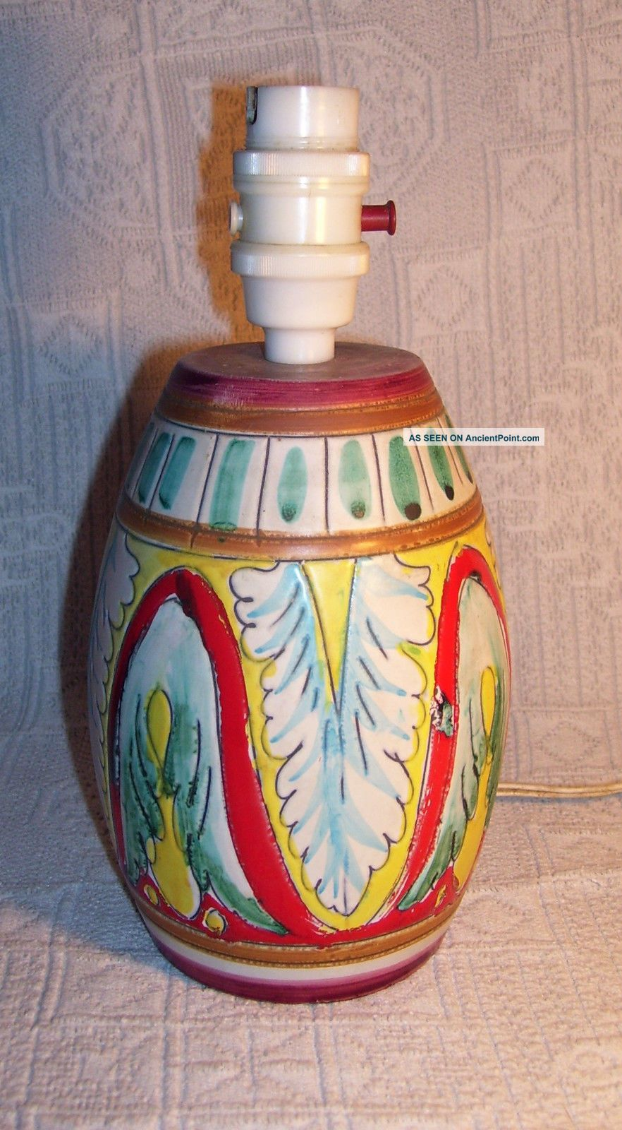 Hand Painted 1940 ' S Colourful Italian Pottered Table Lamp 20th Century photo