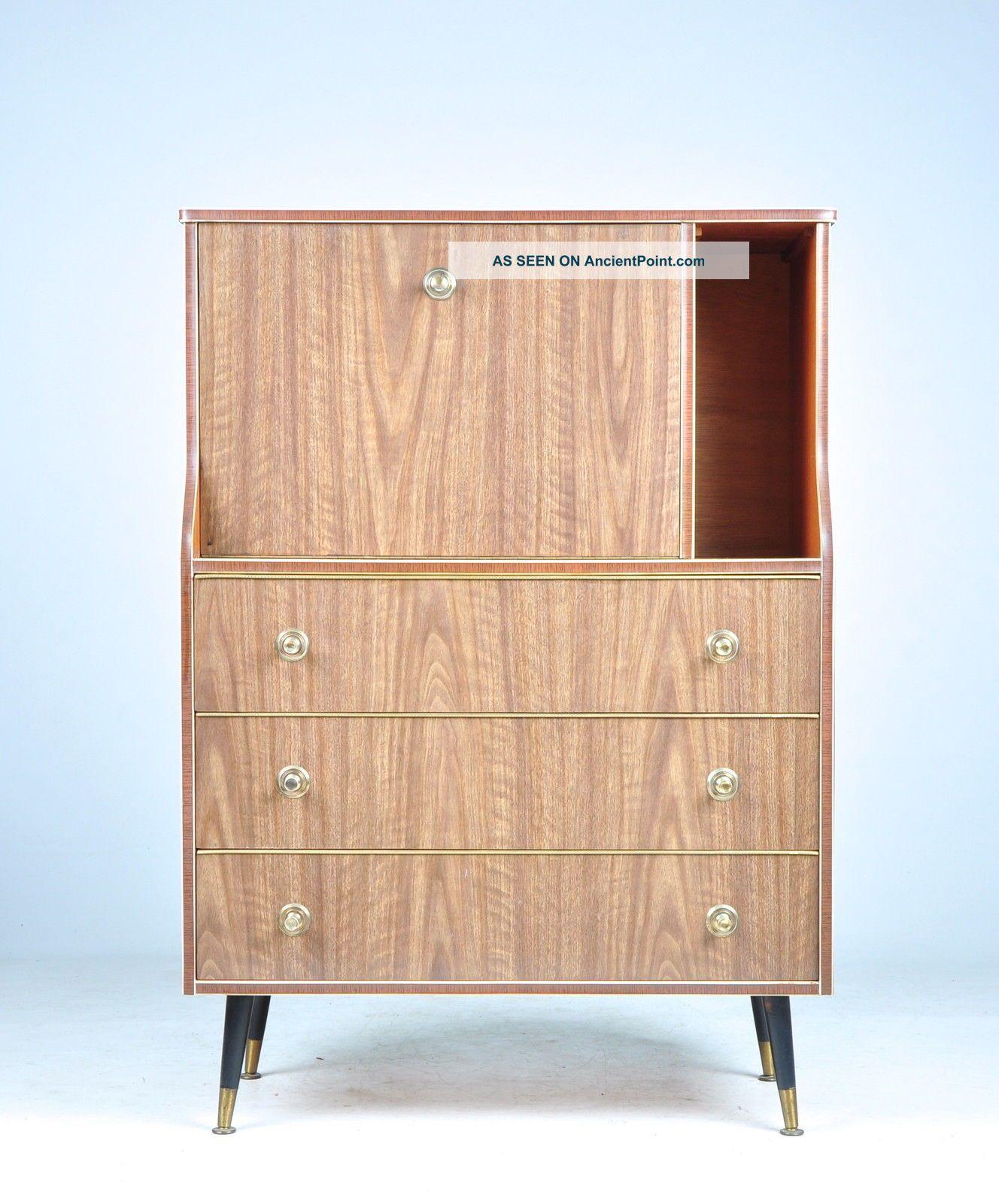Retro Vintage Writing Bureau Desk Mid Century Formica Laminate 1950s 60s 20th Century photo