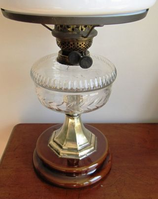 Stunning Sheerwoods Of Birmingham Clear Font Oil Lamp With White Shade photo