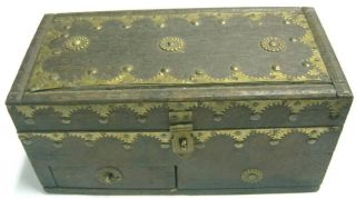 Antique Wood Box,  Three Compartments,  Decorated photo