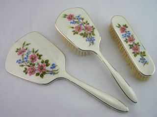 Art Deco Silver Plated Guilloche Enamel Vanity Set - C1930 photo