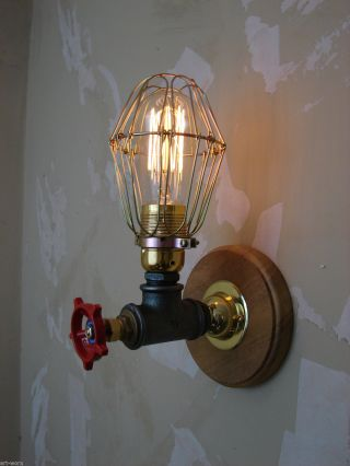 Steampunk/industrial Iron Wall Light/sconce With Cage And Edison Vintage Bulb photo