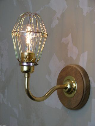 Steampunk/industrial Brass Wall Light/sconce With Cage And Edison Vintage Bulb photo
