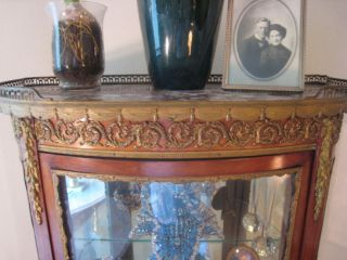 Antique French Style Vitrine Curio Cabinet,  Marble Top photo