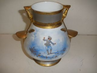 Antique Porcelain Vase Hand Painted Dancing Young Man photo