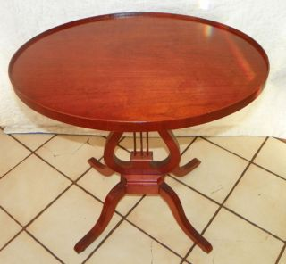 Mahogany Lyre Pedestal Table Side Table (t245) photo