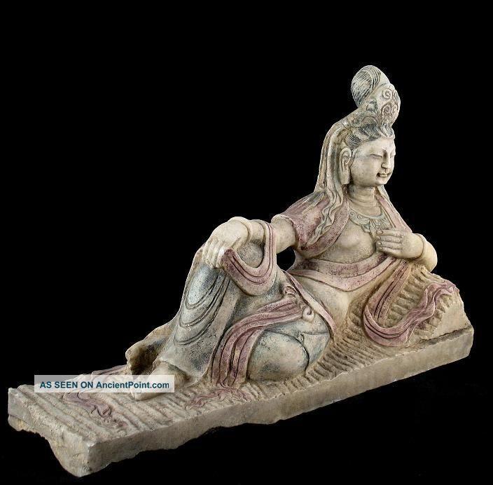 Antique Colored Marble Reclined Kwan Yin Buddha Statue Buddha photo