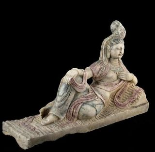 Antique Colored Marble Reclined Kwan Yin Buddha Statue photo