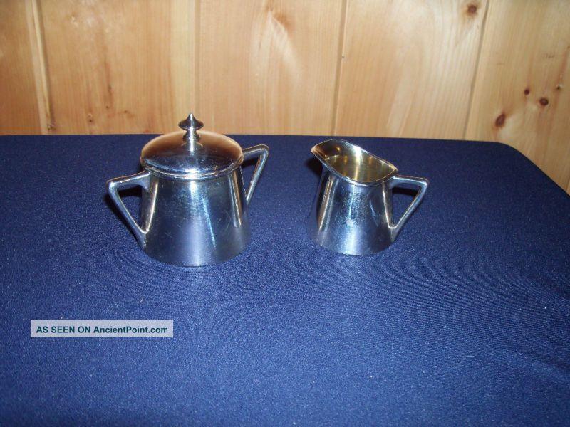 Vintage Silverplate Pairpoint Sugar Creamer 146 Euc Creamers & Sugar Bowls photo