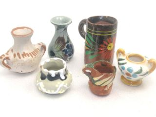 Miniature Handpainted Ceramic Pottery Vases Urn Mug - photo