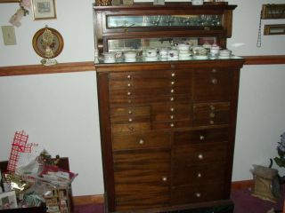 Antique Dentist Chest Cabinet - Drawers,  Mirror,  Marble,  Locks photo