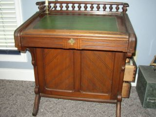Antique English Davenport Desk Or Ship ' S Captain Furniture Orig Finish photo