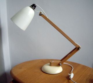 Vintage 1960s Maclamp - Conran Habitat Desk Table Lamp - Wooden Arms / Cream photo