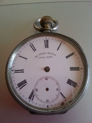 Antique C1870 W Veal,  Bath Swiss Made 0.  800 Silver Pocket Watch photo