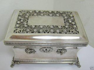 Antique Austrian Silver Filigree Box 1852 photo