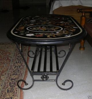 Micromosaic Pietra Dura Flower Coffee Table Top + Base photo