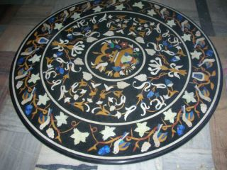 Micromosaic Pietra Dura Flower Bird Round Coffee Table photo