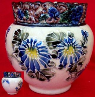 Antique Majolica Pottery Vase Planter Flowers&butterfly photo