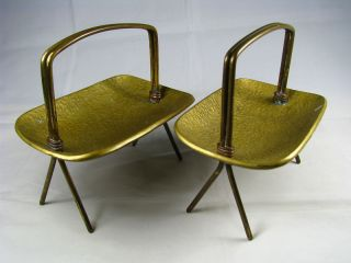 2 Handmade Solid Brass Dishes Trays Baskets By Art Studio Israel Ca1960s Rare photo