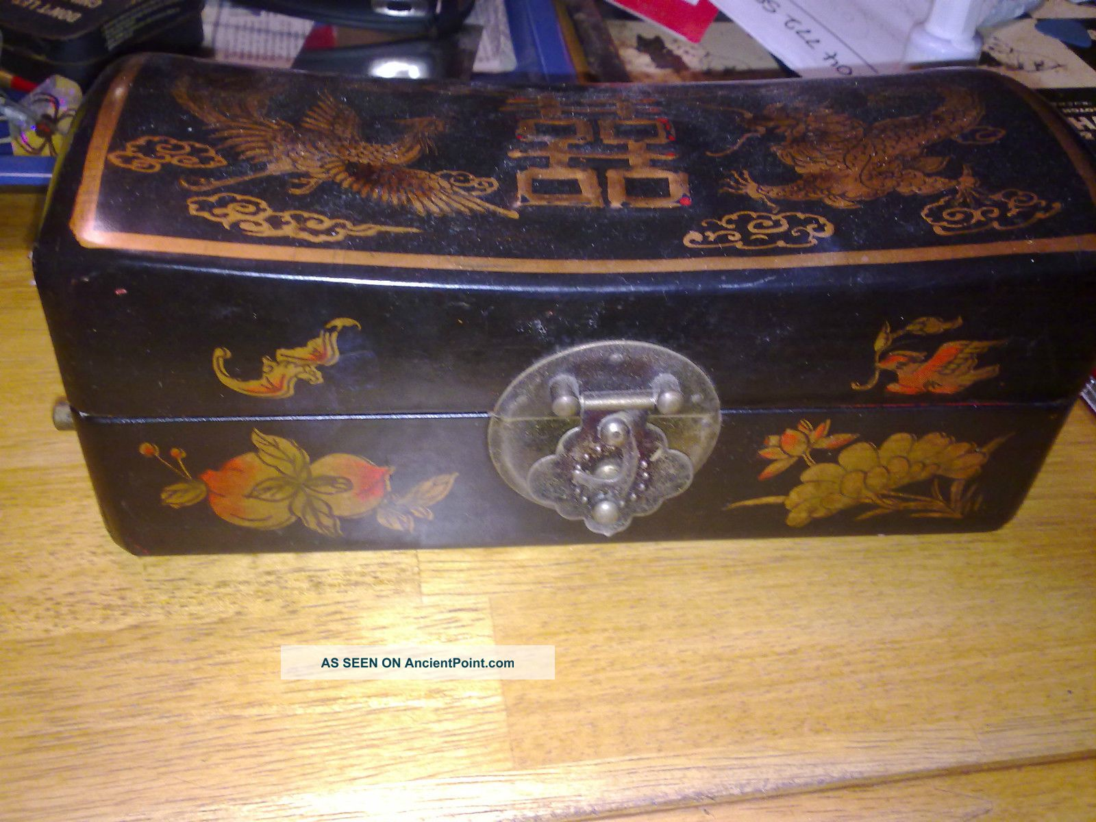 Antique Chinese Pig Skin Box - Phoenix And Dragon Boxes photo