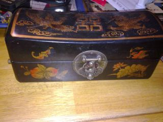 Antique Chinese Pig Skin Box - Phoenix And Dragon photo