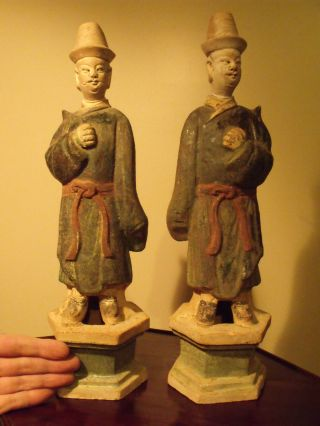 Pair Antique Chinese Ming Dynasty Statues,  15 3/8