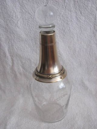 Antique French Silver & Crystal Liquer Bottle C.  1890 photo