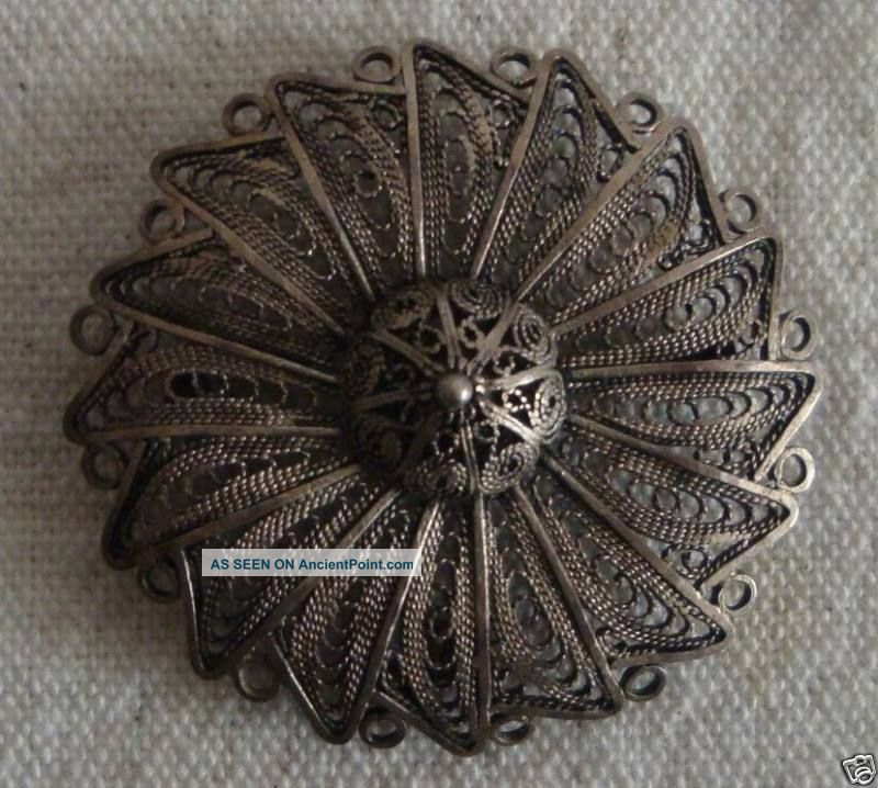 Antique Bezalel Israel Judaica Silver Filigree Work Brooch Other photo