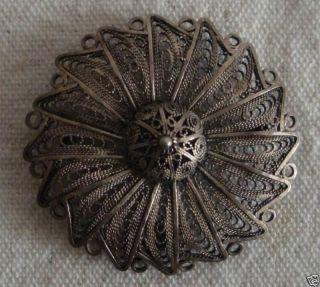 Antique Bezalel Israel Judaica Silver Filigree Work Brooch photo