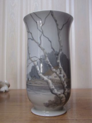 Antique B & G Porcelain Vase Landscape Birches Denmark 9