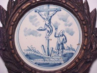 C.  1690 Antique Dutch Delft Holy Bible Tile Jesus Crucifixion Christian Relic God photo