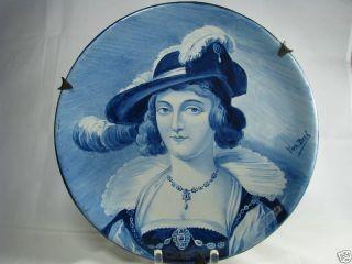 A Dutch Ceramic Porcelain Plate Portrait Delft Holland Netherlands Ca1760 - 1820 photo