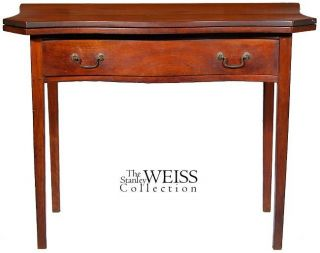 Swc - Cherry Serpentine Card Table With Drawer,  C.  1800 photo
