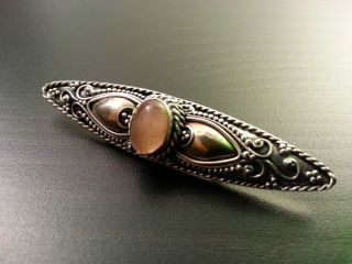Antique Ornamented Solid Silver Brooch Stone Eye With Gold Element Ornamented photo