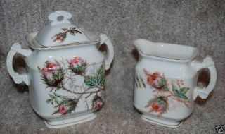 Antique Moss Rose Ironstone Creamer & Sugar & Lid 1850s photo